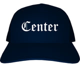 Center Texas TX Old English Mens Trucker Hat Cap Navy Blue