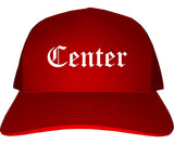 Center Texas TX Old English Mens Trucker Hat Cap Red
