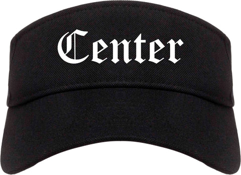 Center Texas TX Old English Mens Visor Cap Hat Black