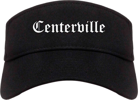 Centerville Iowa IA Old English Mens Visor Cap Hat Black
