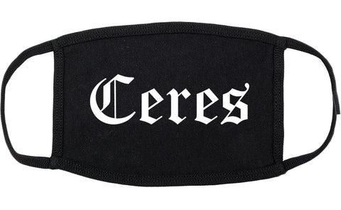 Ceres California CA Old English Cotton Face Mask Black