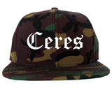 Ceres California CA Old English Mens Snapback Hat Army Camo