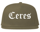Ceres California CA Old English Mens Snapback Hat Grey