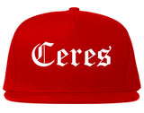 Ceres California CA Old English Mens Snapback Hat Red