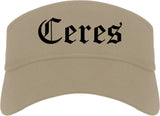 Ceres California CA Old English Mens Visor Cap Hat Khaki