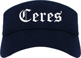 Ceres California CA Old English Mens Visor Cap Hat Navy Blue