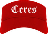 Ceres California CA Old English Mens Visor Cap Hat Red