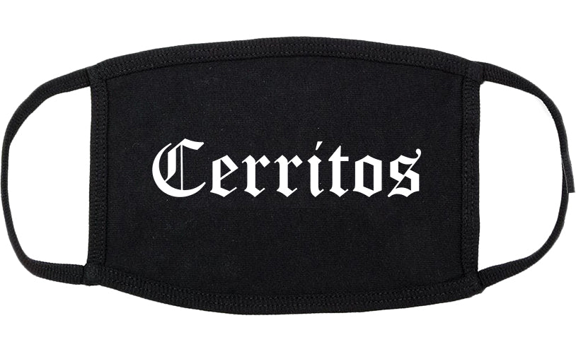 Cerritos California CA Old English Cotton Face Mask Black