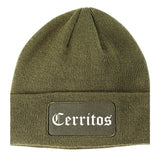 Cerritos California CA Old English Mens Knit Beanie Hat Cap Olive Green