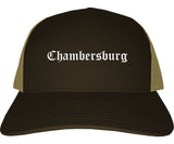 Chambersburg Pennsylvania PA Old English Mens Trucker Hat Cap Brown