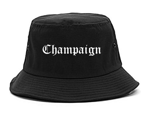Champaign Illinois IL Old English Mens Bucket Hat Black