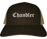 Chandler Arizona AZ Old English Mens Trucker Hat Cap Brown