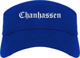 Chanhassen Minnesota MN Old English Mens Visor Cap Hat Royal Blue