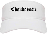Chanhassen Minnesota MN Old English Mens Visor Cap Hat White