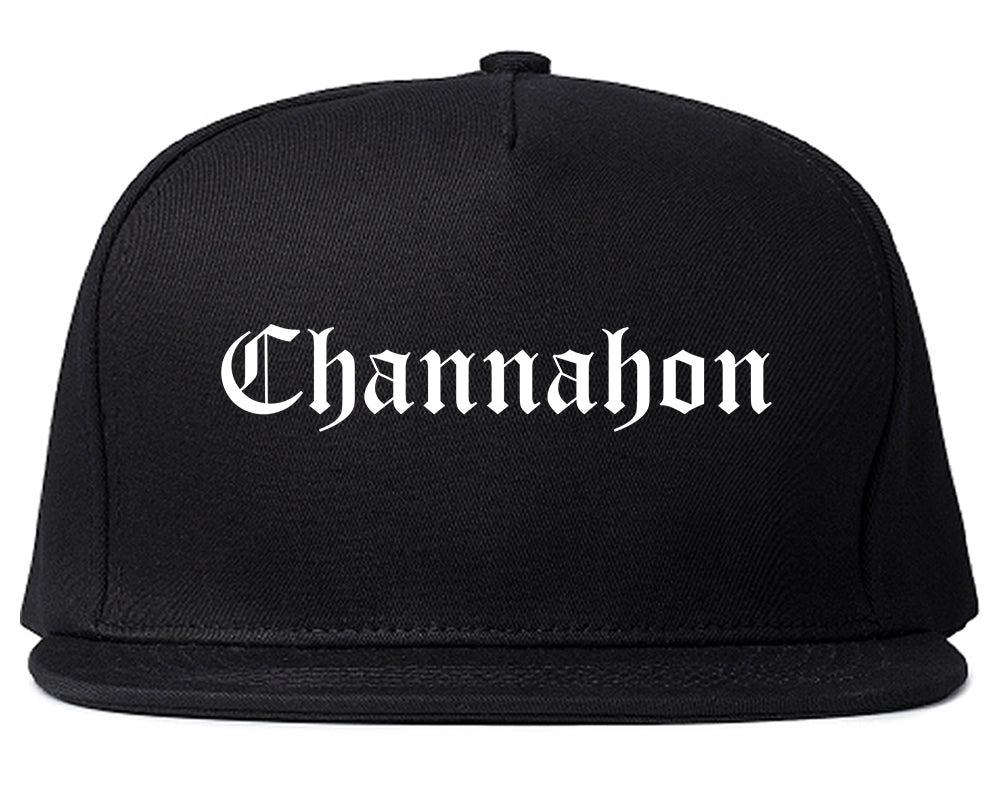 Channahon Illinois IL Old English Mens Snapback Hat Black