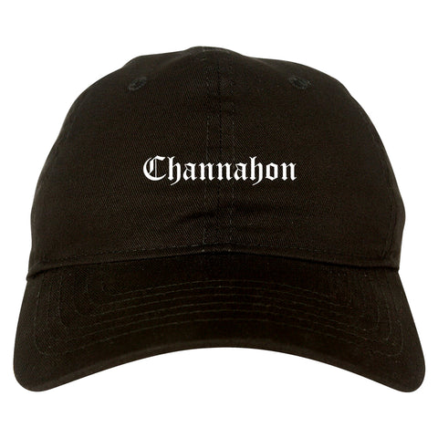 Channahon Illinois IL Old English Mens Dad Hat Baseball Cap Black