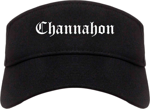 Channahon Illinois IL Old English Mens Visor Cap Hat Black