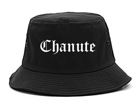 Chanute Kansas KS Old English Mens Bucket Hat Black