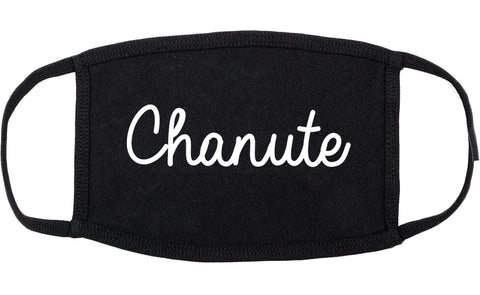 Chanute Kansas KS Script Cotton Face Mask Black