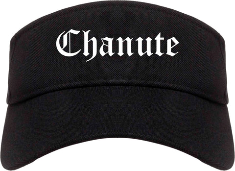 Chanute Kansas KS Old English Mens Visor Cap Hat Black