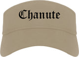 Chanute Kansas KS Old English Mens Visor Cap Hat Khaki