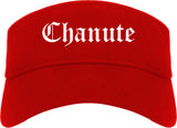 Chanute Kansas KS Old English Mens Visor Cap Hat Red