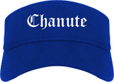 Chanute Kansas KS Old English Mens Visor Cap Hat Royal Blue