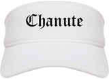 Chanute Kansas KS Old English Mens Visor Cap Hat White