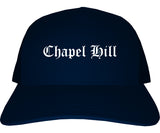 Chapel Hill North Carolina NC Old English Mens Trucker Hat Cap Navy Blue