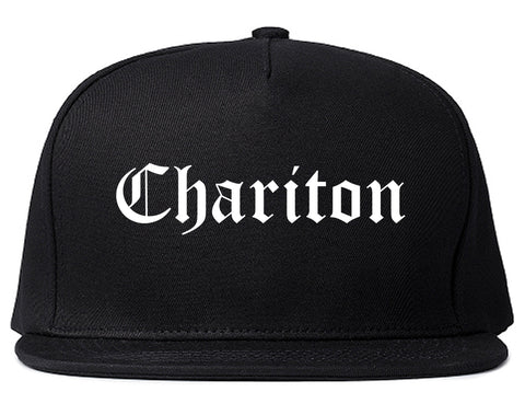 Chariton Iowa IA Old English Mens Snapback Hat Black