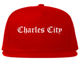 Charles City Iowa IA Old English Mens Snapback Hat Red