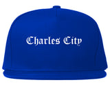 Charles City Iowa IA Old English Mens Snapback Hat Royal Blue