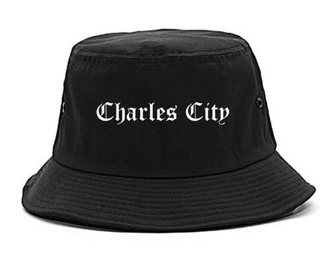 Charles City Iowa IA Old English Mens Bucket Hat Black