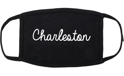 Charleston Illinois IL Script Cotton Face Mask Black