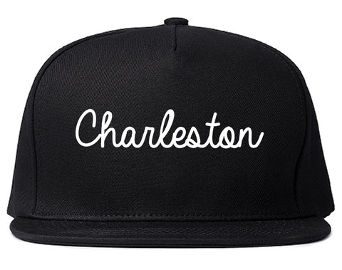 Charleston Illinois IL Script Mens Snapback Hat Black