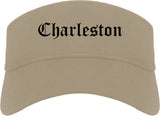 Charleston Illinois IL Old English Mens Visor Cap Hat Khaki