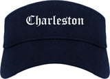 Charleston Illinois IL Old English Mens Visor Cap Hat Navy Blue