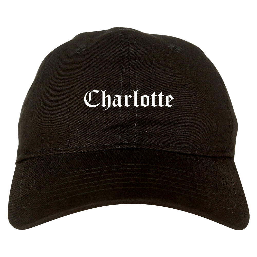 Charlotte North Carolina NC Old English Mens Dad Hat Baseball Cap Black