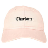 Charlotte North Carolina NC Old English Mens Dad Hat Baseball Cap Pink