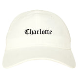 Charlotte North Carolina NC Old English Mens Dad Hat Baseball Cap White