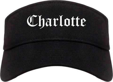 Charlotte North Carolina NC Old English Mens Visor Cap Hat Black