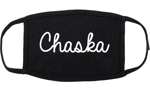 Chaska Minnesota MN Script Cotton Face Mask Black