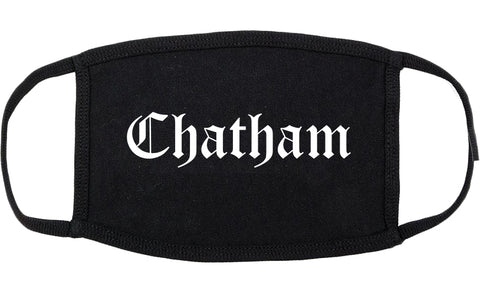 Chatham New Jersey NJ Old English Cotton Face Mask Black