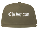 Cheboygan Michigan MI Old English Mens Snapback Hat Grey