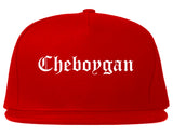 Cheboygan Michigan MI Old English Mens Snapback Hat Red