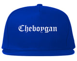 Cheboygan Michigan MI Old English Mens Snapback Hat Royal Blue