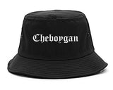 Cheboygan Michigan MI Old English Mens Bucket Hat Black