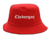 Cheboygan Michigan MI Old English Mens Bucket Hat Red