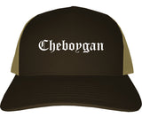Cheboygan Michigan MI Old English Mens Trucker Hat Cap Brown