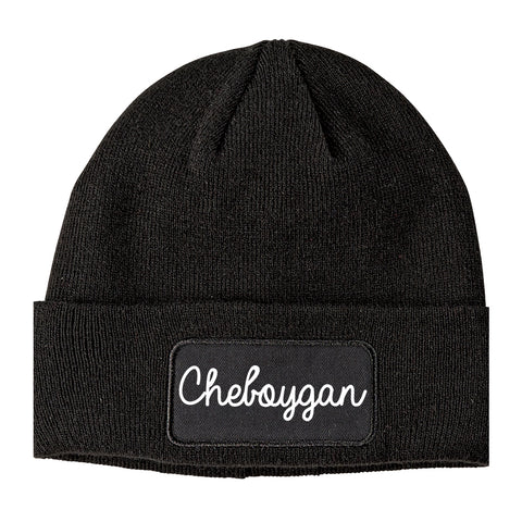 Cheboygan Michigan MI Script Mens Knit Beanie Hat Cap Black